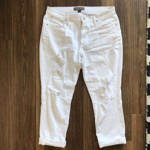 J Crew Point Sur White Destroyed Boyfriend Jean